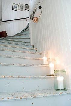 mason jar lighting, cottag, stairway paint ideas, jar candles, beach houses, painting stairway, mason jars, candles on stairs, painted stairs