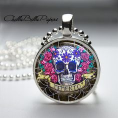 Day of the Dead Sugar Skull Pendant Necklace by ChellaBellaPapers