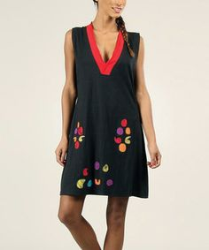 Another great find on #zulily! Aller Simplement Black & Red Abstract Patchwork V-Neck Dress by Aller Simplement #zulilyfinds