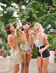 Blowing bubbles with your besties! Bonding time!