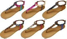 Ladies Mixed Animal Print T-Strap Sandals pair at $9.99 only!!!