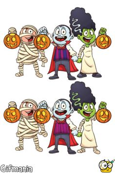 Find the 7 differences in Halloween! #halloween #activitypages #spotdifferences