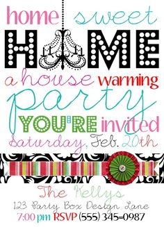 Super cute housewarming party invites Because it's never too late for a party!
