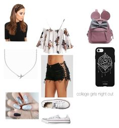 """college girls night out"" by ashley2021 ❤ liked on Polyvore featuring Converse, Fifth & Ninth, LullaBellz and Minnie Grace"