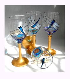 Blue Dragonfly Cordial Hand Painted Glassware with Gold Stem