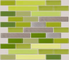A Gorgeous Blend Of Lime Green And Stainless Steel Subway Tiles. An