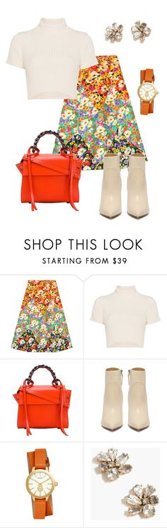 """Colorful Flower Power"" by shoediva68 ❤ liked on Polyvore featuring Gucci, Staud, Elena Ghisellini, Tory Burch and J.Crew"