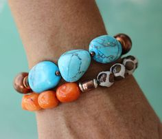 BoHo Chakra Bracelet-Gemstone nuggets, Orange Quartsite-Leopard Agate-Blue Chunky Stone Beads Copper-Chakra Chart-Meaning of the color
