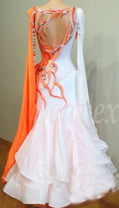 orange and white ballroom dress