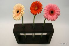 Wooden Bud Vase Home Decor 3 Flowers by WoodPower on Etsy, $19.00