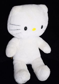 "From Sanrio and Build A Bear Workshop is a pretty HELLO KITTY cat. She is White Plush and about 17"" Soft Toy Stuffed BABW No Bow #BuildABear #AllOccasion"