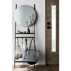 Clay Leaning Mirror with Hooks + Reviews   Crate and Barrel Mirror Stairs, Foyer Mirror, Glam Mirror, Mirrors, Round Hanging Mirror, Mirror With Hooks, Leaning Mirror, Small Entry Decor, Makeup Room Decor