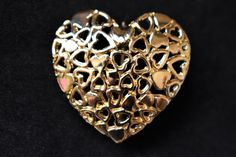 """Vintage Heart Brooch Coat Sweater Pin Gold Tone 80s Retro Costume Jewelry Valentine's Gift 1.25"""" by DecoOwl5 on Etsy"""