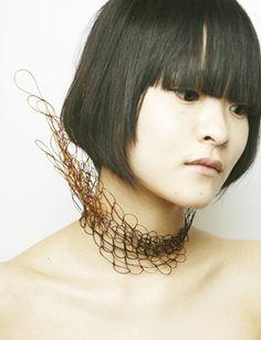 MAHO TAKAHASHI - Hair Lace Neckpiece Hair used: designer's own.