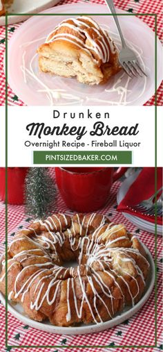 Monkey Bread is great all year round! This Drunken Monkey Bread has the added kick of a little bit of Fireball Liquor added to the sugar glaze! Best Dessert Recipes, Fun Desserts, Holiday Recipes, Delicious Desserts, Breakfast Recipes, Bread Maker Recipes, Baking Recipes, Bread Recipe Video, Retro Recipes
