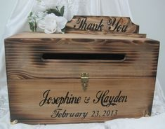 Large Rustic Wedding Card Box Keepsake Chest Cards Thank You Natural Personalized Custom Wood. $75.00, via Etsy.