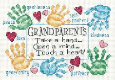 Grandparents Touch a Heart Counted Cross Stitch