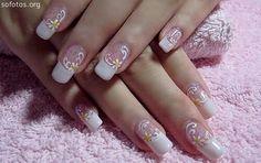 Extremly Cute Nail Design - Nail Art Design From CoolNailsArt Cute Pink Nails, Pink Nail Art, Hot Nails, Pretty Nails, Funky Nails, Cute Nail Art Designs, Pink Nail Designs, Acrylic Nail Designs, Acrylic Nails