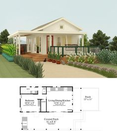 I love this plan, small as it is. Those porches! If I built it, I would add a second floor for the bedroom suite, possibly using the side porch roof as a balcony as well, and move the kitchen to where the bedroom currently is. Cottage Style House Plans, Bungalow House Design, Tiny House Cabin, Small House Design, Dream House Plans, Modern House Plans, Small House Plans, House Floor Plans, Cottages And Bungalows