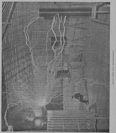 Nikola Tesla in his laboratory -- Uusimmat keksinnöt kipinäsähköttämisen alalla, 01.01.1903 Sähkö ja voima no 2 - Aikakauslehdet - Digitoidut aineistot - Kansalliskirjasto
