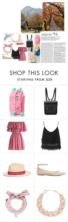 """""""Trip to Busan"""" by mandalinaqitrydewi on Polyvore featuring Lazy Oaf, The Cambridge Satchel Company, Chicwish, Topshop, Tory Burch, Witchery and DIANA BROUSSARD"""
