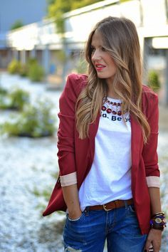 Summer Outfits, Casual Outfits, Blazer Fashion, Boyfriend Jeans, Casual Chic, Womens Fashion, Fashion Trends, Autumn Fashion, Burgundy