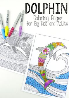 Coloring Pages for Grown Ups - wonderful dolphins & oceans - calming and beautiful (2)