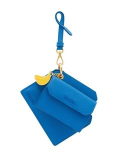 Prada Banana Charm Keyring In Blue Coin Purse Wallet, Coin Purses, Nylon Bag, Prada Handbags, Leather Pouch, Small Bags, Banana, Minis, Charmed