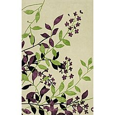 @Overstock - This unique hand-tufted polyester rug features natural designs with lustrous accents throughout giving it a subtle sheen and ultra-soft hand. Multi textural dimension create unmatched beauty in vibrant earth tones of ivory, green and purple.http://www.overstock.com/Home-Garden/Hand-tufted-Monrovia-Ivory-Area-Rug-8-x-10/6650135/product.html?CID=214117 $365.99