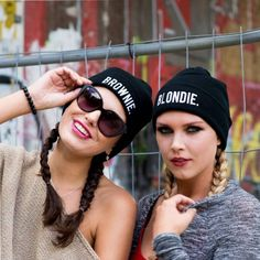 Every blondie needs a brownie by her side. Celebrate your friendship and your hair color with the #1 trending beanie hats in our collection. Rolled Cuff Style Beanies 100% Acrylic One size Soft Materi