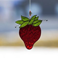 Strawberry, stained glass strawberry suncatcher, stain glass strawberry ornament on Etsy