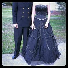 Beautiful ball gown or Prom Dress .....worn once Black with beautiful beading ...two piece.. corset top........  lots of crinoline in the bottom part  for fullness ...never altered Dresses Prom