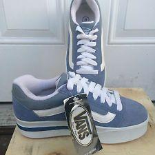 a4b977237fd4 Vintage Platform Plat Skool Vans Light Blue Suede