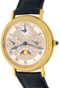 Breguet Classique Quantieme Perpetual Automatic Winding Wrist Watch with Silvered guilloche Dial with black Roman numerals