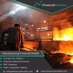 Financial model templates in excel for manufacturing companies: cost per ton analysis, multi-year financial statement forecast, DCF valuation framework, M&A acquisition and investor IRR analysis