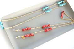 Gold Eyeglass Chain with Coral Stones, Chic Glasses Chain for Women, Sunglasses Necklace, Eyeglasses Holder for Her, Sunglass Strap Woman In Gold, Beaded Lanyards, Coral Stone, Eyeglass Holder, Eyeglasses, Women Accessories, Stones, Chain, Unique Jewelry