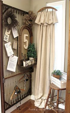 Old bedspring for display unit?  & 50 things to make from painters drop cloth #DIY Drop Cloth #Vintage #Curtains