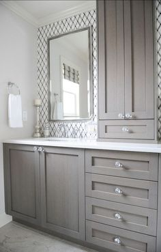Dreaming of an extravagance or designer master bathroom? We have gathered together plenty of gorgeous master bathroom tips for small or large budgets, including baths, showers, sinks and basins, plus bathroom decor some ideas. Bathroom Renos, Bathroom Renovations, Home Remodeling, Bathroom Vanities, Bathroom Storage, Master Bathrooms, Bathroom Cupboards, Bathroom Organization, Glass Bathroom