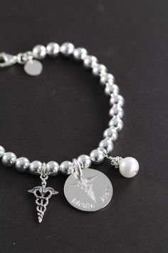 Personalized Medical Alert Bracelet Custom Engraved 925 Sterling Silver Id Jewelry