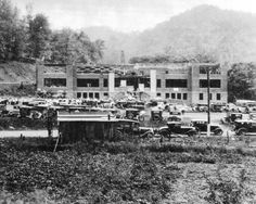 Big Creek High School being built, 1930-31. Originally pinned by W Rivers onto McDowell County, West Virginia.