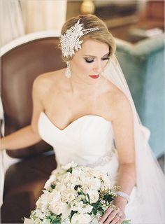 glamorous bridal look | red bridal lip | glam hair accessory | strapless gown | #weddingchicks