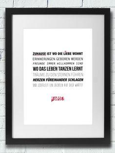 Druck: ZUHAUSE IST WO DIE LIEBE WOHNT:::  von InkDrip auf DaWanda.com....