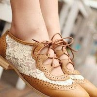 Hollow Toe Lace Belt Plat Shoes - Brown (From Bright91)