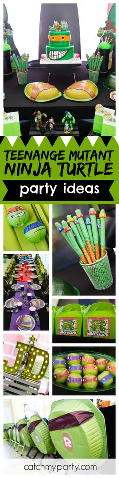 Cowabunga! Don't miss this awesome Teenage Mutant Ninja Turtle birthday party. The turtles shells on the back of the seats are so cool! See more party ideas and share yours at CatchMyParty.com