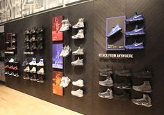 Fifth Floor: Jordan/Nike Basketball – Complete Jordan/Nike Basketball retail section – high ceilings – Trial zone to test out shoes for a true in-game feel Shoe Store Design, Retail Store Design, Showroom Interior Design, Retail Interior, Shoe Display, Display Design, Nike Retail, Shoe Wall, Retail Fixtures