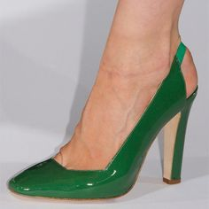 35fcf77851e Green Patent Leather Slingback Heels Square Toe Chunky Heel Pumps