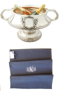 Pair of Sterling Silver Bowls/Centrepieces - Antique George V SKU: A2882 Price GBP £59,950.00 www.acsilver.co.u... paired with monogrammed anti-tarnish silver storage bag from Sherwood Silver Bags on Etsy