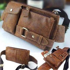 Men's Leather Fanny/Waist Pack Bum Bag Shoulder Bag Sports Chest Pack Satchel