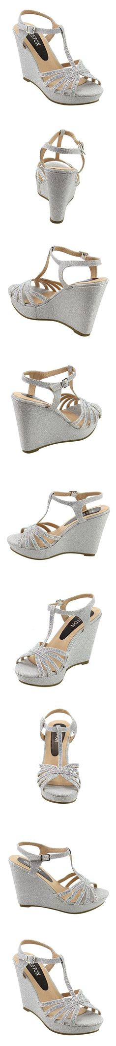 Beston ID68 Women's Glitter T-strap Cage Platform Wedge Dress Sandal, Color:SILVER, Size:7.5