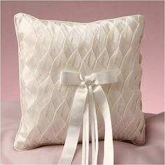 WeddingDepot.com ~ Ring Bearer Pillow - Pleated Silk - Ivory ~ Add an amazing touch of beauty to your wedding with this gorgeous ring pillow. Pure ivory silk fabric is carefully pleated and tucked to create the dramatic affect on the top of this beautiful pillow.
